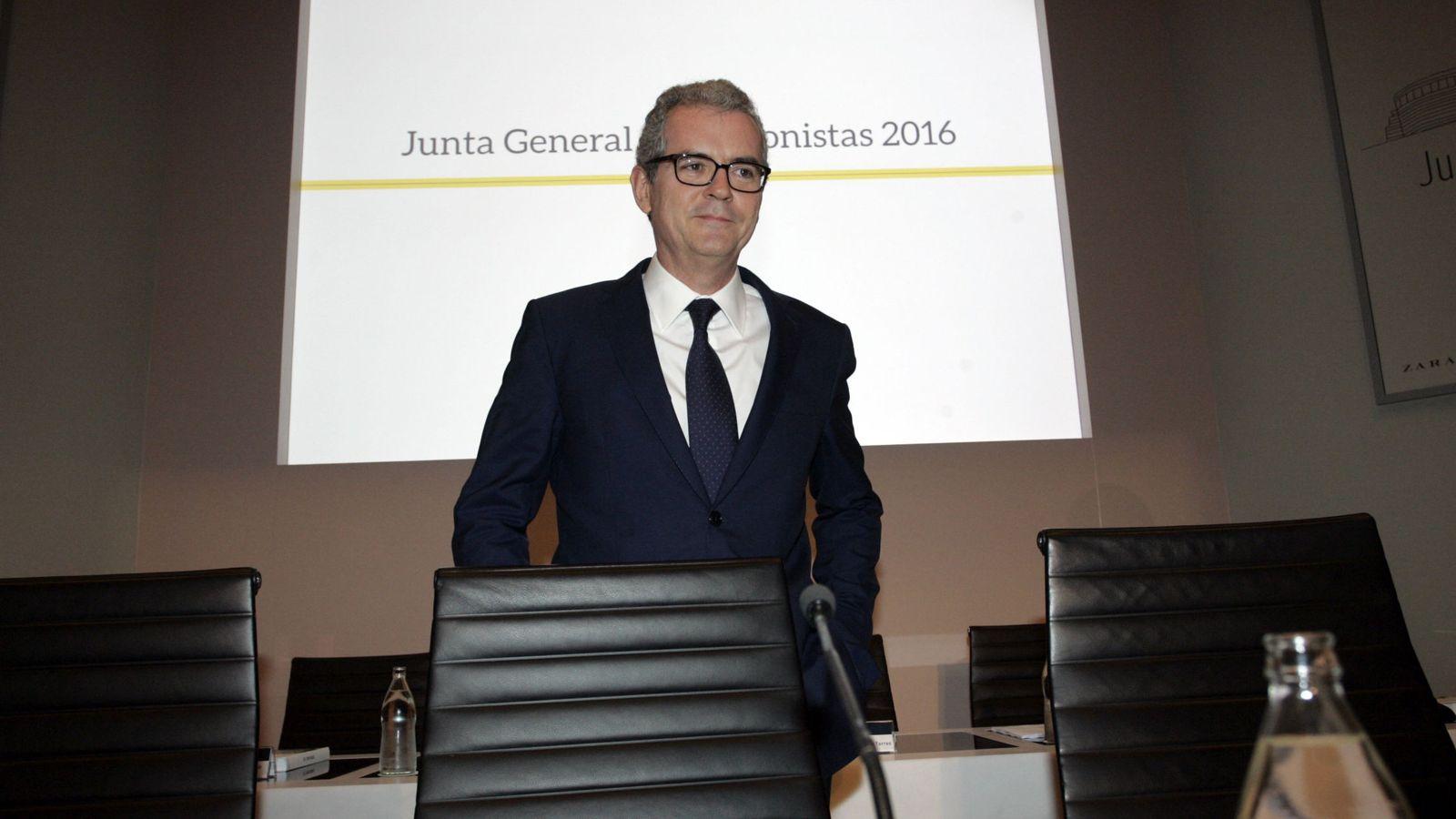 Foto: El presidente de Inditex, Pablo Isla, en la última junta general de accionistas. (EFE)