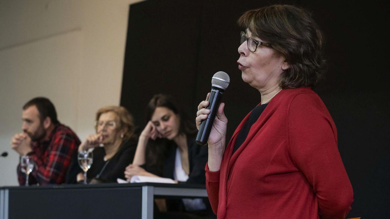 Inés Sabanés, junto a Nacho Murgui, Manuela Carmena y Rita Maestre. (EFE)