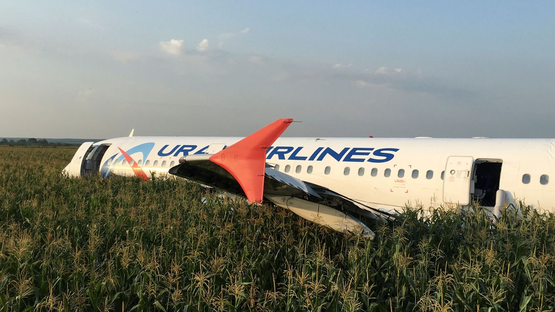 El espectacular aterrizaje de emergencia de un Airbus con 200 pasajeros en un maizal