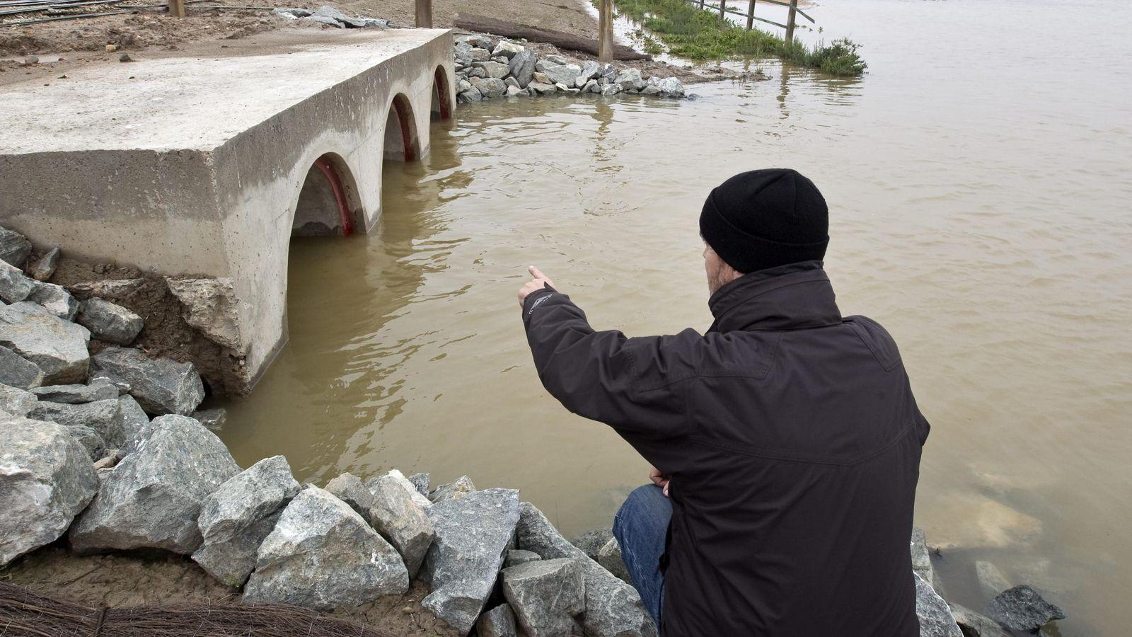 Foto: Vista de las obras que la CHG llevó a cabo para permeabilizar el muro que aislaba el caño del Guadiamar. (EFE)