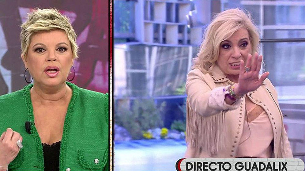 Foto: Terelu Campos y Carmen Borrego en Telecinco. (Mediaset España)