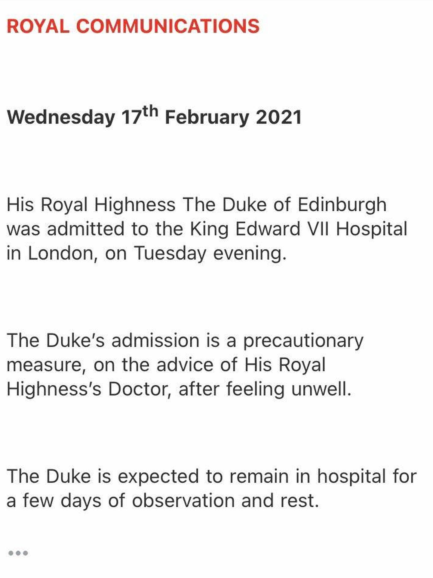 La información facilitada por el Palacio de Buckingham.