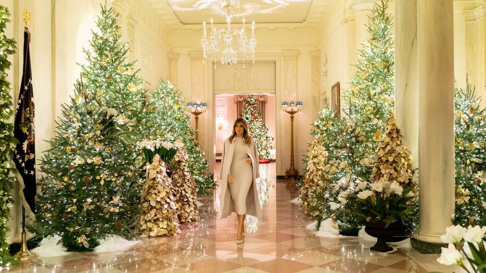 Foto: Decoración navideña en la Casa Blanca. (Melania Trump/Twitter)
