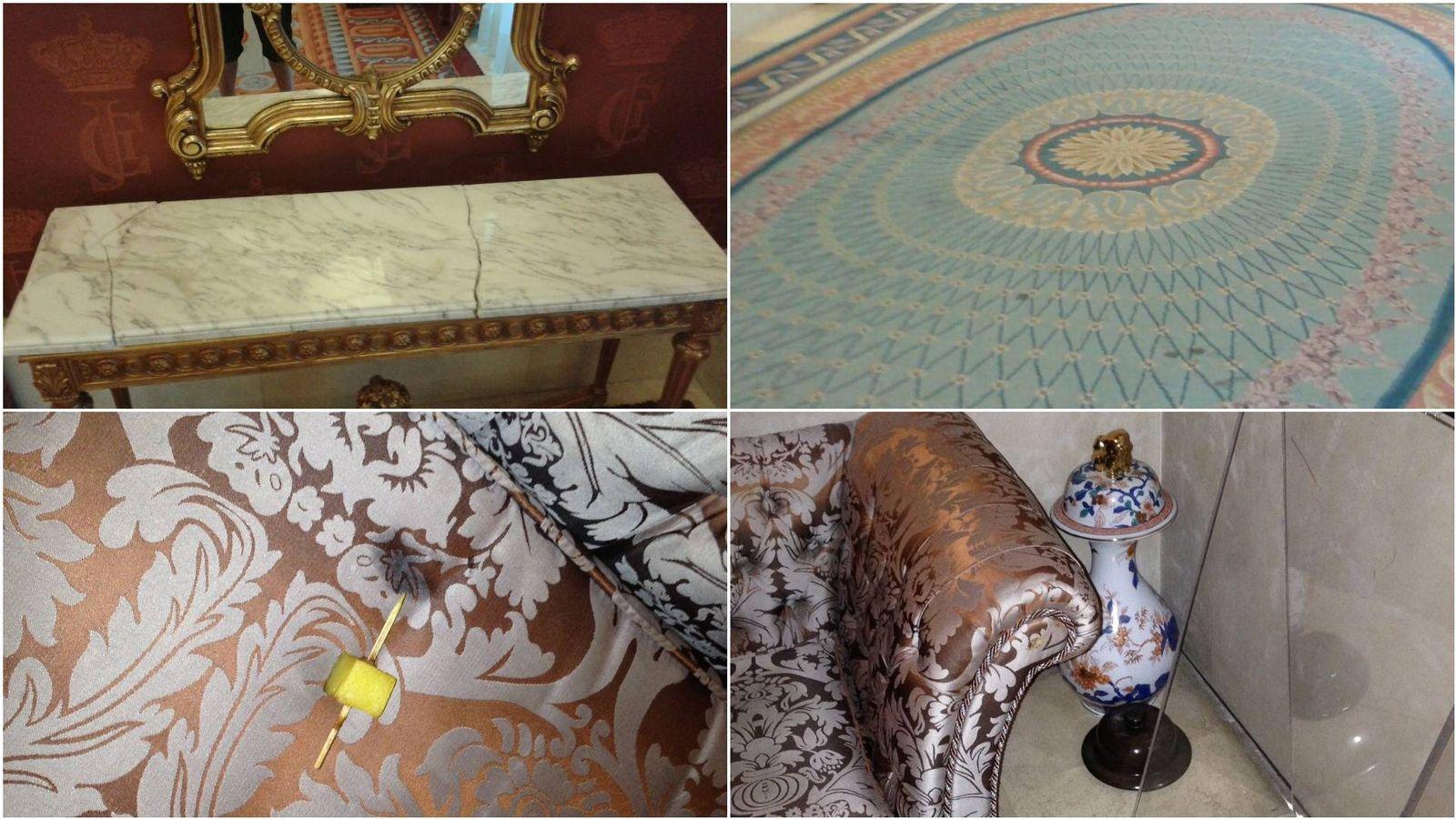 Foto: Mármol roto, alfombras con lamparones, restos de canapés... se pueden observar en el Teatro Real.