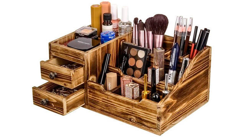 Organizador de maquillaje Sunix de madera rústica