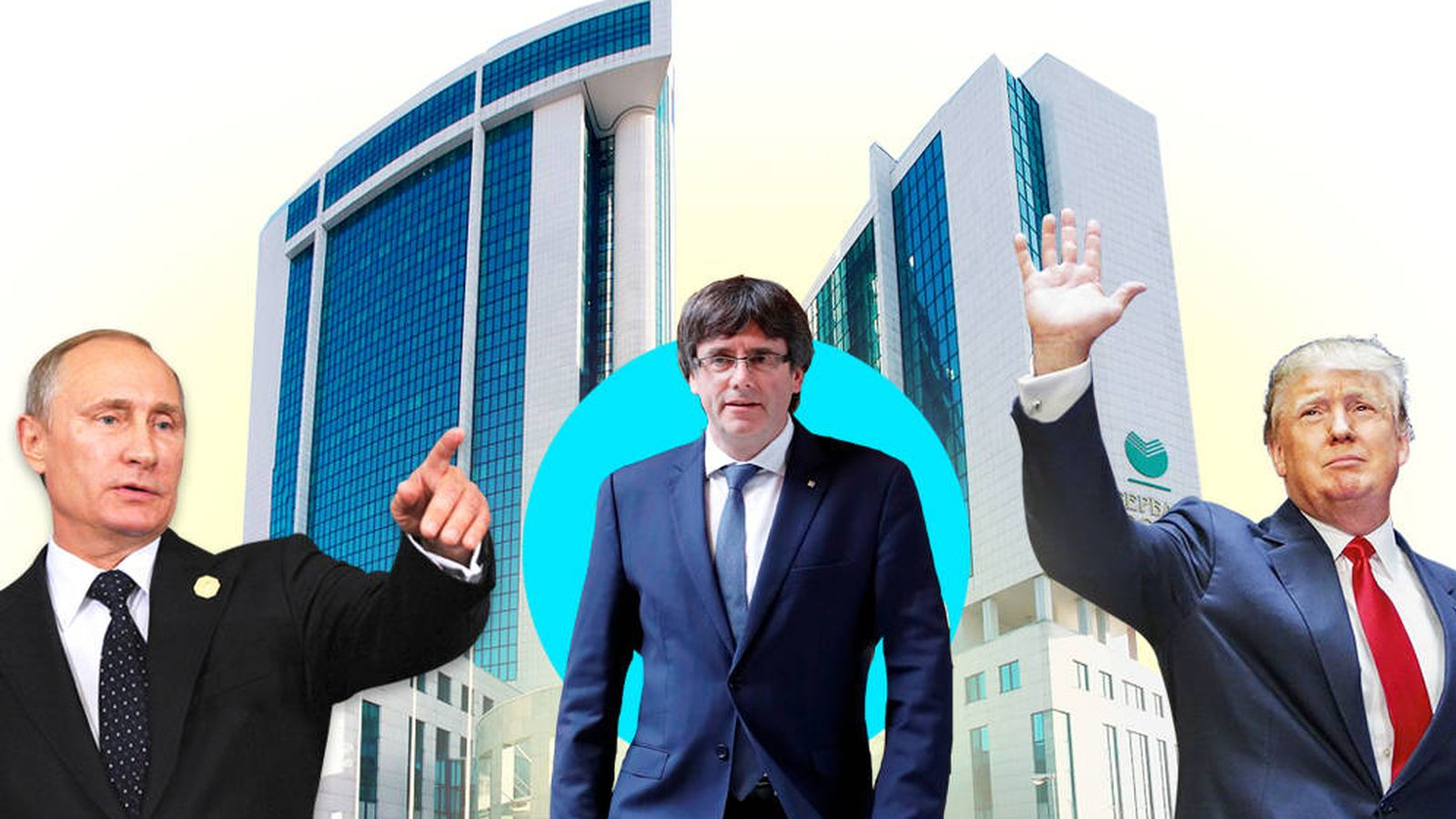 Foto: Vladimir Putin, Carles Puigdemont y Donald Trump. (EC)