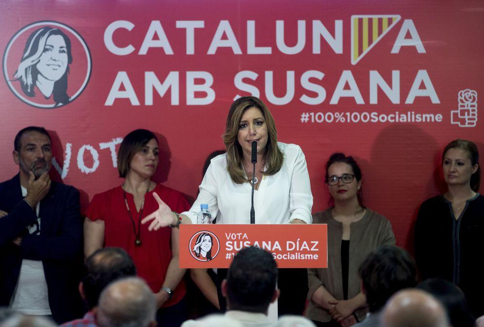 Foto: Susana Díaz, este 12 de mayo en Mataró, Barcelona, en un encuentro con militantes. (EFE)