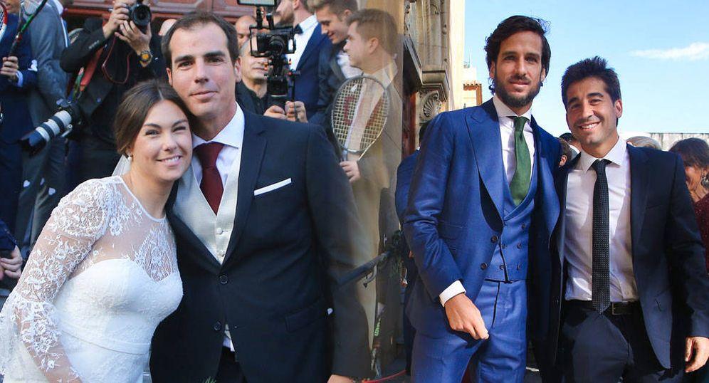 Foto: Los novios, Carolina Costa (ex de Alonso) y el entrenador de Feliciano, y los tenistas en un fotomontaje elaborado por Vanitatis.