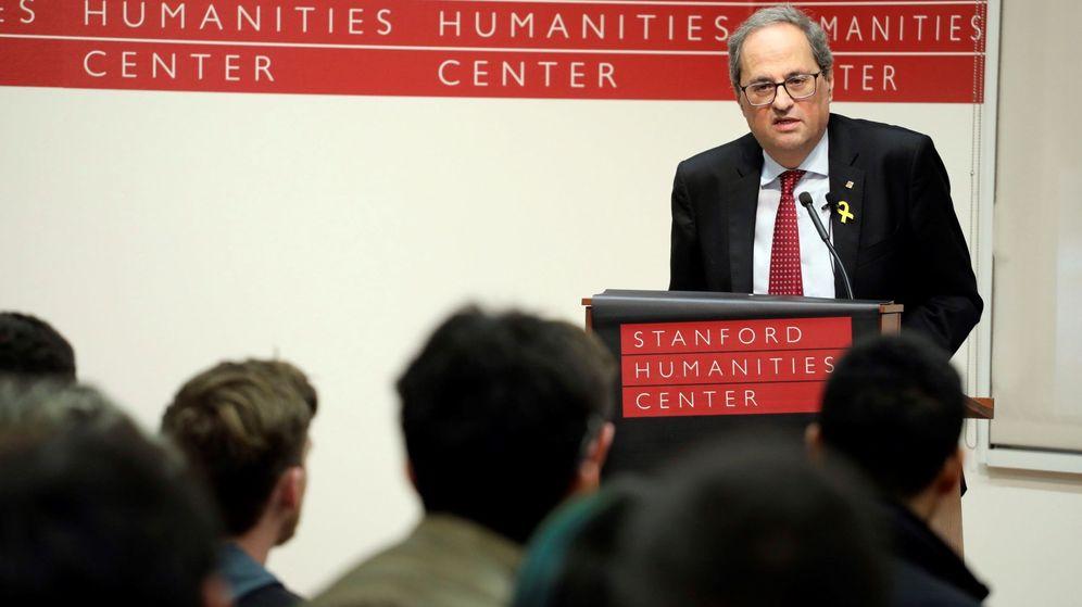 Foto: Quim Torra, en la Universidad de Stanford, durante la gira que hizo por Estados Unidos el pasado enero. (EFE)