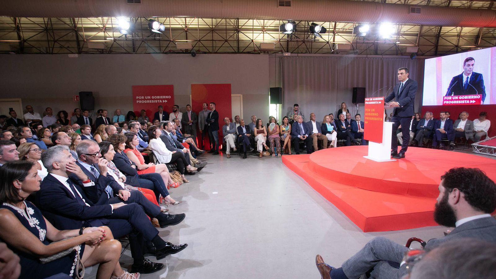 Foto: Pedro Sánchez, durante la presentación del 'Programa común progresista', este 3 de septiembre en el espacio MEEU de la estación de Chamartín, en Madrid. (Eva Ercolanese   PSOE)