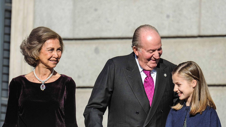 La reina Sofía, con el colgante de rubí, en 2018. (Getty)