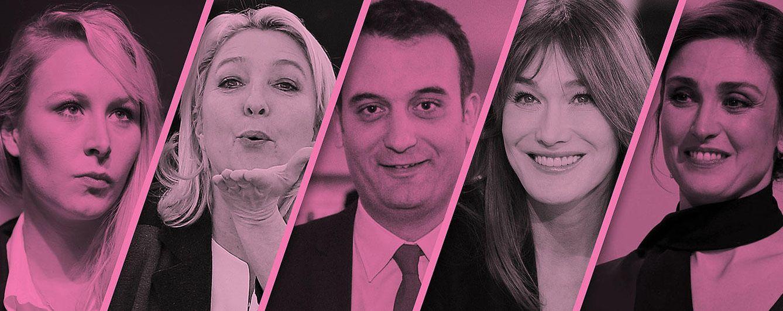 Foto: Marion Maréchal Le Pen, Marine Le Pen, Florian Philippot, Carla Bruni y Julie Gayet (Fotomontaje: Vanitatis)
