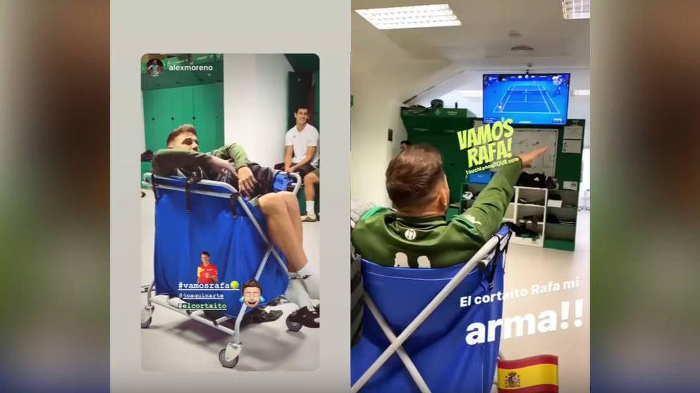 Foto: Joaquín, en un carro de la compra, para seguir la final de la ATP Cup (Foto: Instagram)