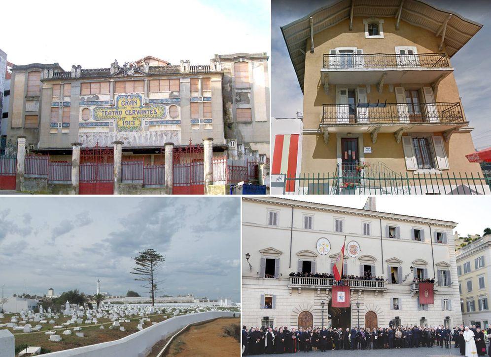 Foto: El teatro Cervantes en Tánger (arriba izq.), un centro de españoles de Suiza (arriba der.), el cementerio de Tetuán (abajo der.) y la embajada ante la Santa Sede.