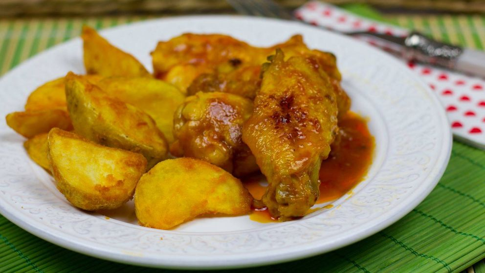 Alitas de pollo en salsa barbacoa, también sin horno