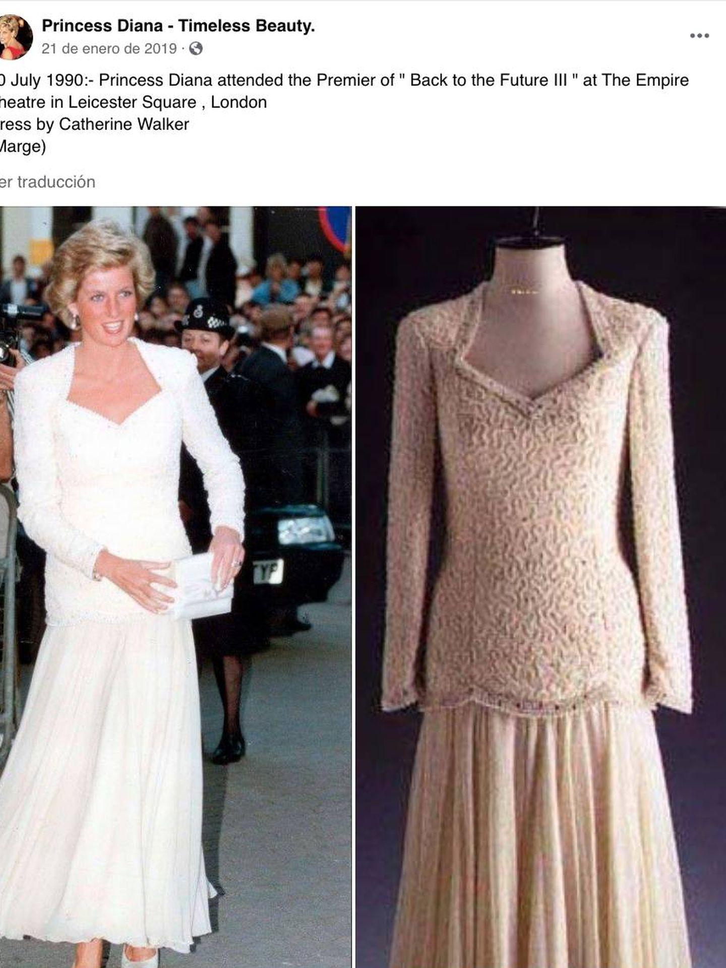 Imagen del vestido de Diana aquel día. (RRSS)