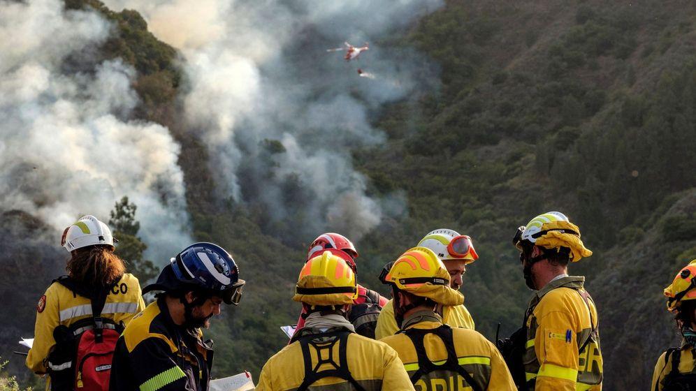Foto: Bomberos trabajando en la extinción del fuego en Gran Canaria. (EFE)