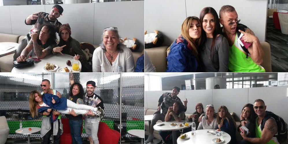Foto: Los 'supervivientes' durante una escala de su vuelo a Honduras (Twitter)