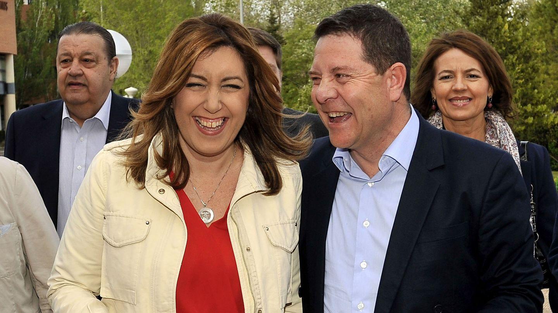 Susana Díaz con el presidente manchego, Emiliano García-Page, el pasado 22 de abril en Albacete. (EFE)