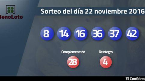 Resultados del sorteo de la Bonoloto del 22 noviembre 2016: números 8, 14, 16, 36, 37, 42