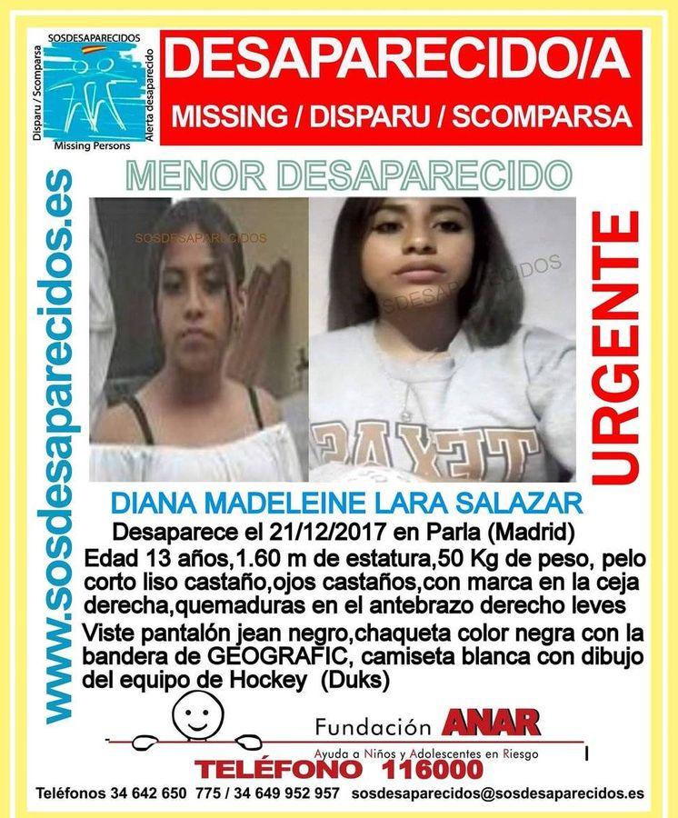 Foto: Dayana Lara Salazar, la niña de 13 años de Parla que ha desaparecido. (Alerta Desaparecidos)