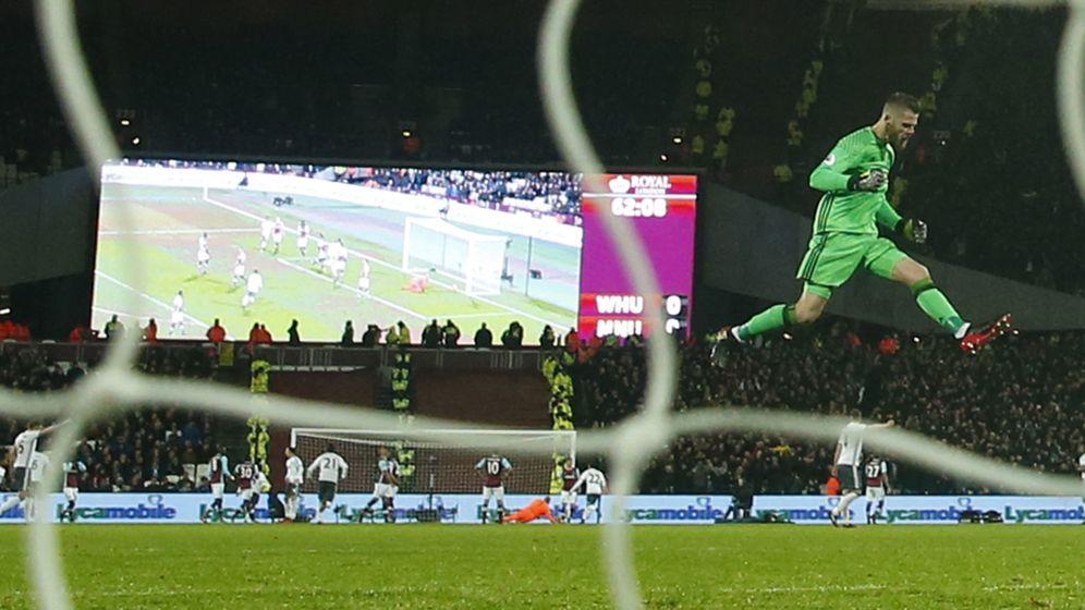 Foto: De Gea celebra un gol del Manchester United al West Ham en el London Stadium. (Reuters)