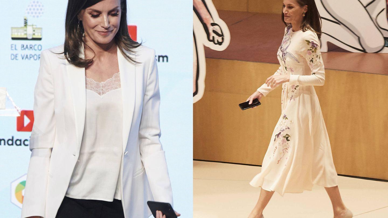 La reina Letizia, con el teléfono en la mano en dos de sus últimos actos. (Limited Pictures)