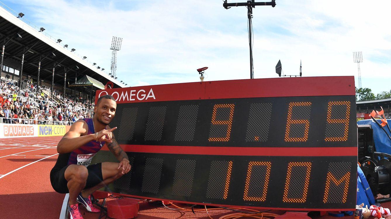 La impresionante marca, con viento ilegal, de De Grasse en los 100 metros: 9,69