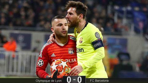 El quiero y no puedo de Messi (ante el Lyon) que deja seco al Barcelona