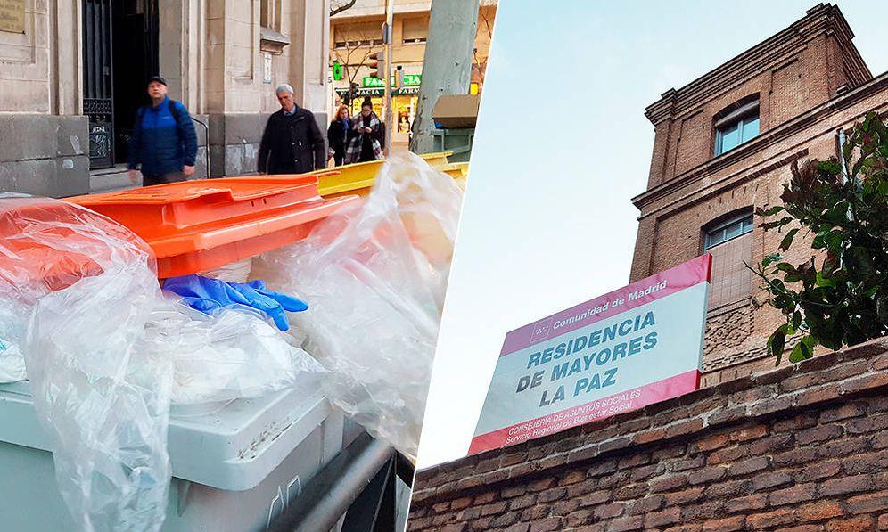 Foto: Residuos sanitarios en la puerta de la residencia La Paz, en Madrid. (A. P.)