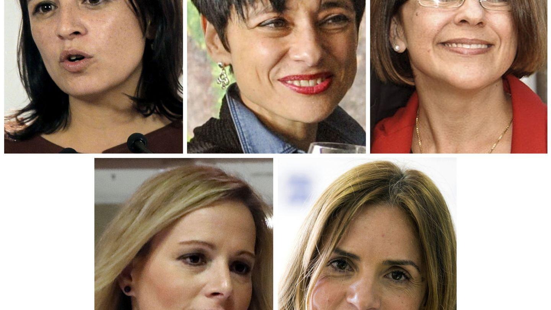 De izqda. a dcha., Adriana Lastra, Rocío de Frutos, Sofía Hernanz, Zaida Cantera y Susana Sumelzo. (EFE)