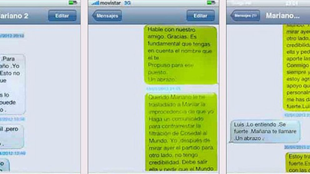 Bárcenas difunde mensajes de apoyo que Rajoy le envió durante los dos últimos años