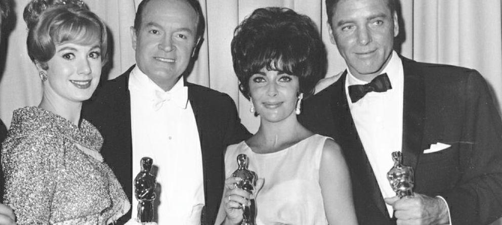 Foto: La actriz, entre Bob Hope y Burt Lancaster (I. C)