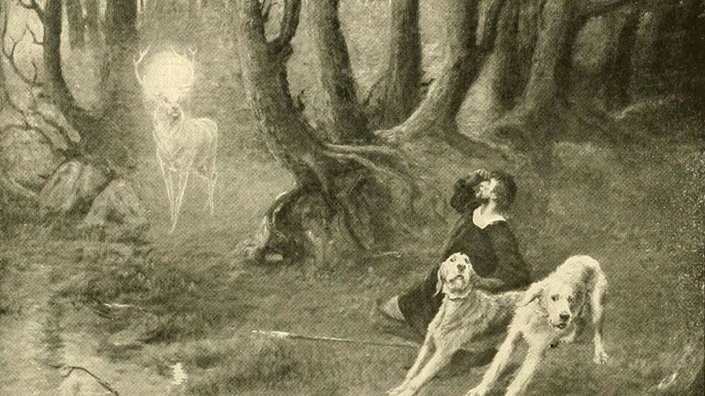 Dibujo de la aparición del ciervo ante San Huberto. (C.C.)