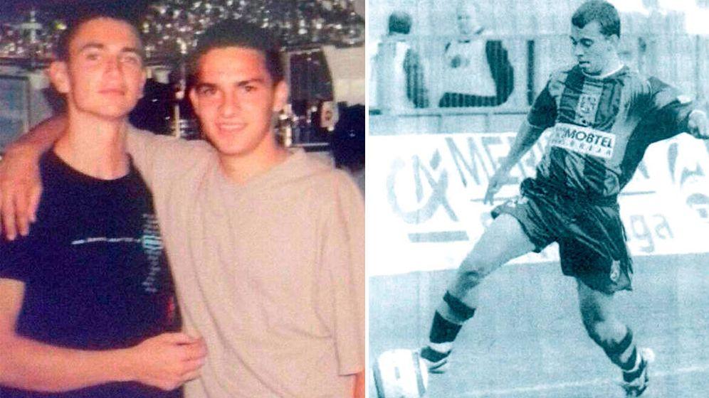 Foto: Zivko Bakic (d) con su hermano Mihailo (i) antes de su muerte. En la foto de la derecha, Bakic jugando un partido.