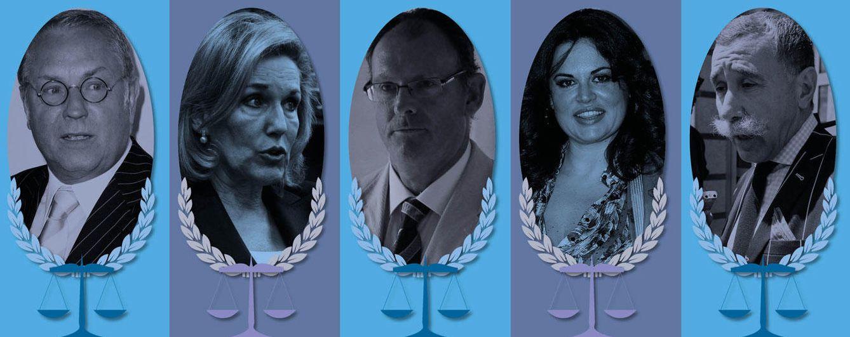 Foto: Cinco de los abogados más mediáticos en un fotomontaje realizado en Vanitatis