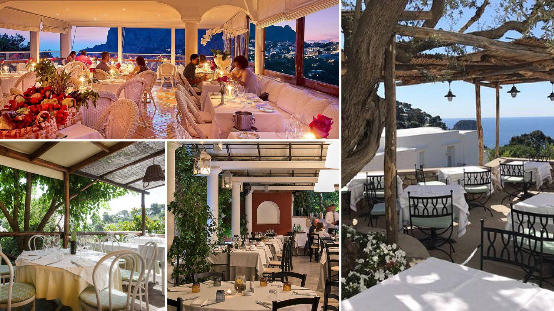 En sentido de las agujas del reloj: Terraza brunella, Villa Margherita, Villa Verde y Da Tonino.