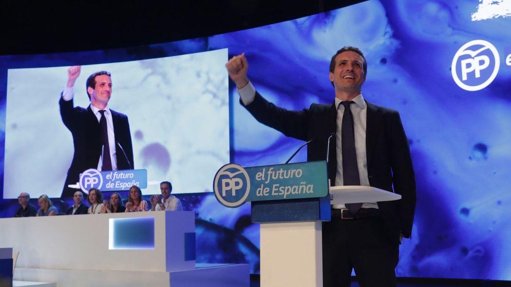 Foto: El candidato a la Presidencia del PP, Pablo Casado, durante su intervención hoy en el XIX Congreso del partido. (EFE)