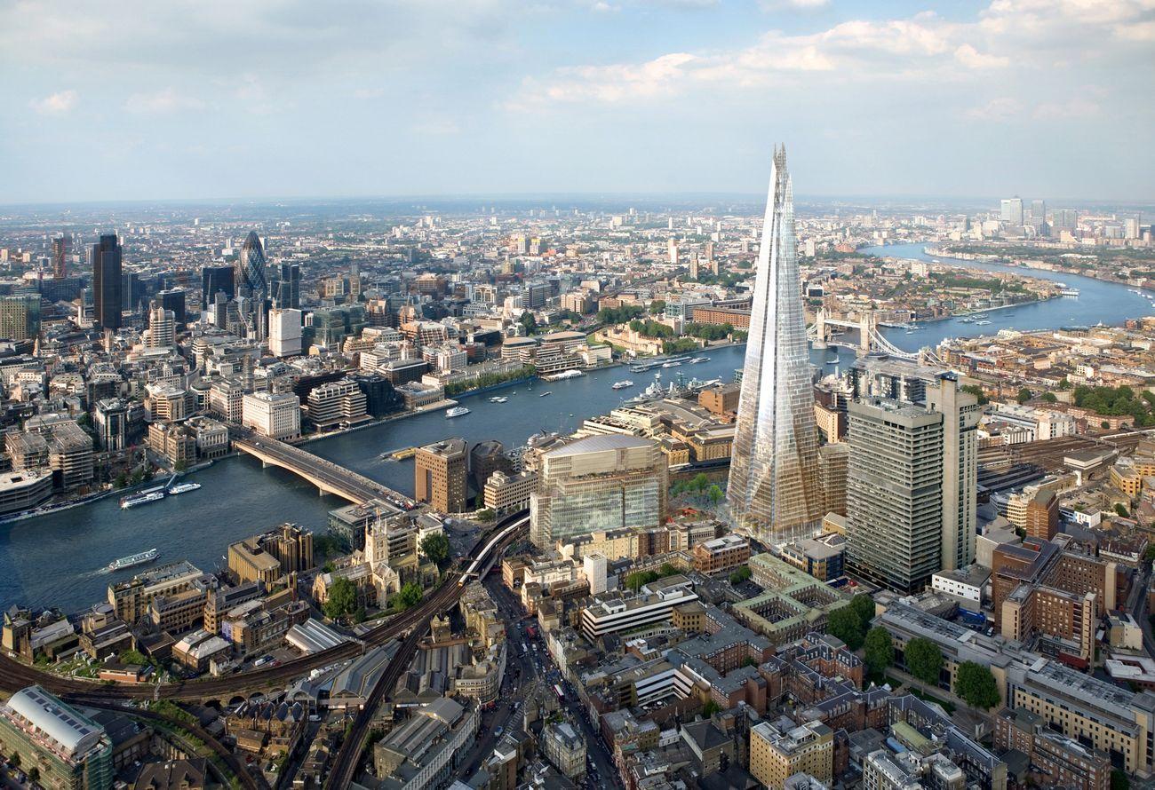 Foto: Foto: Vista áerea de The Shard, en Londres