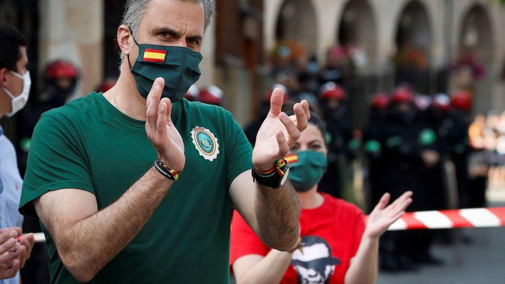 Foto: Javier Ortega Smith, en un acto electoral de Vox en Oñati (Guipúzcoa). (EFE)