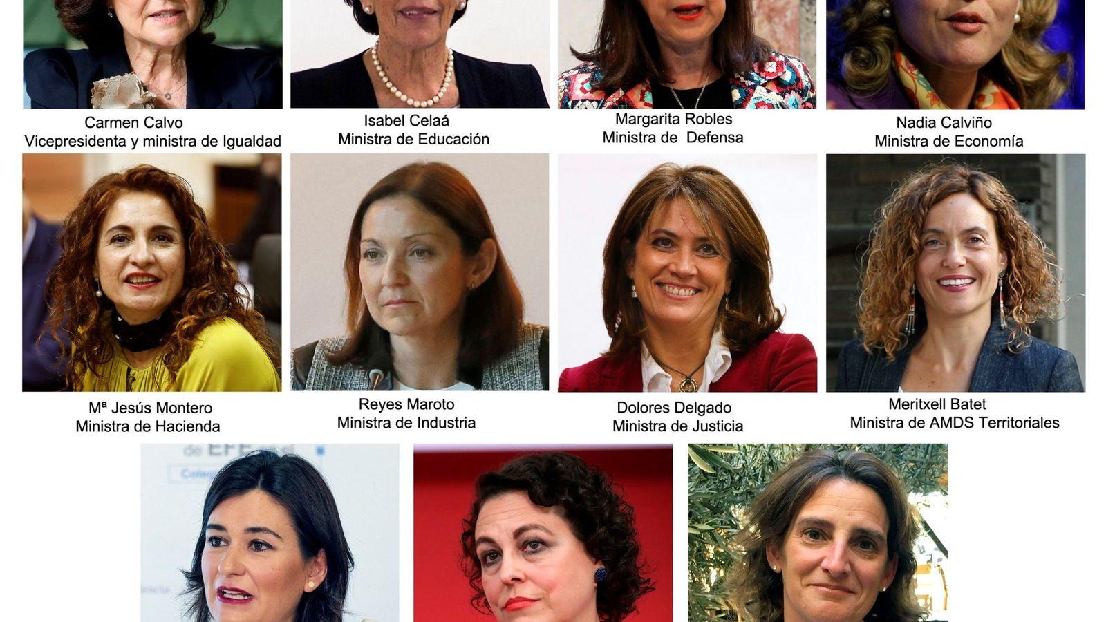 Foto: Combo de fotografías de las 11 ministras que ha elegido el presidente del Gobierno, Pedro Sánchez. (EFE)