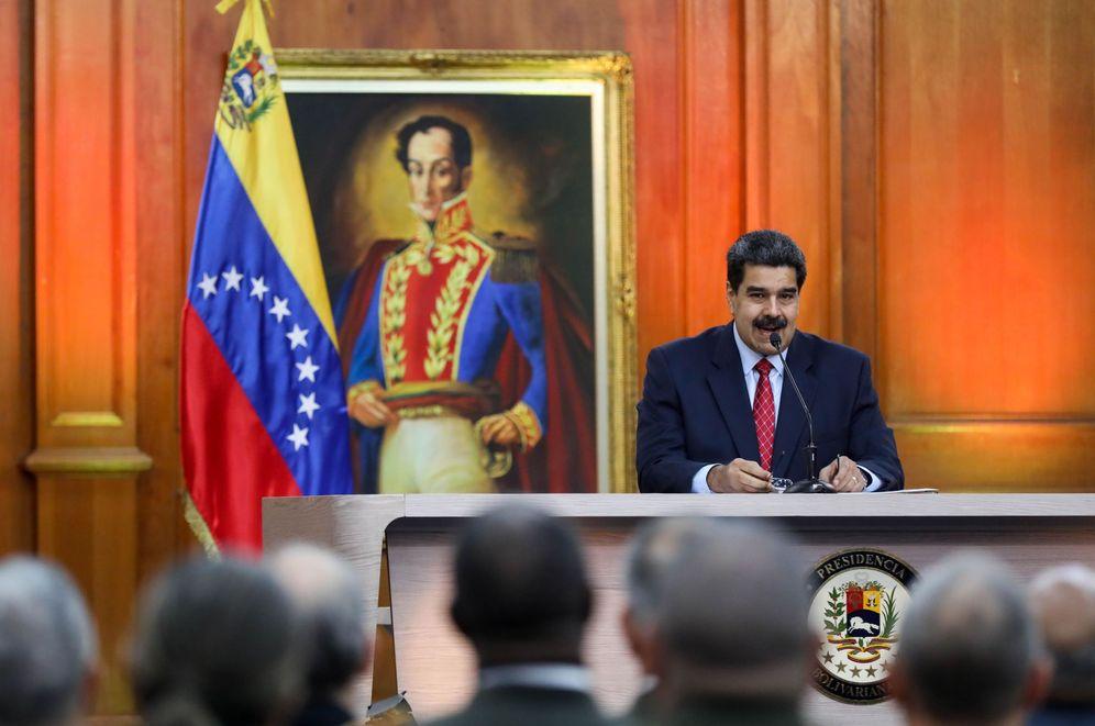 Foto: El jefe de Estado de Venezuela, Nicolás Maduro, habla durante una rueda de prensa desde el Palacio Miraflores este viernes. (EFE)