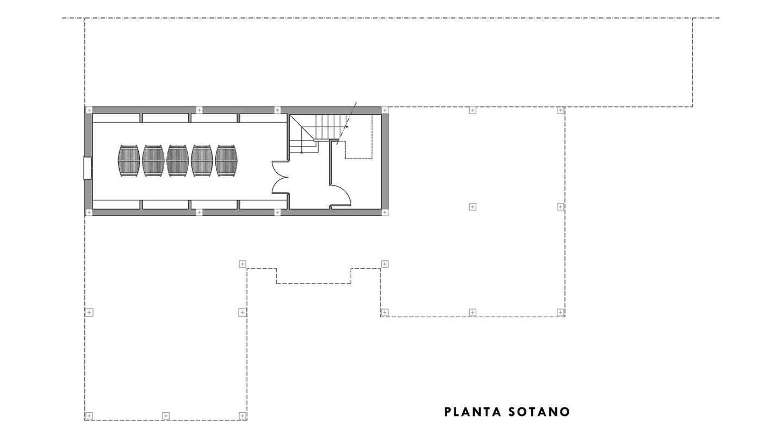 Plano de la bodega de Ponce en el sótano. (Cortesía de Díaz y Sanjuan)