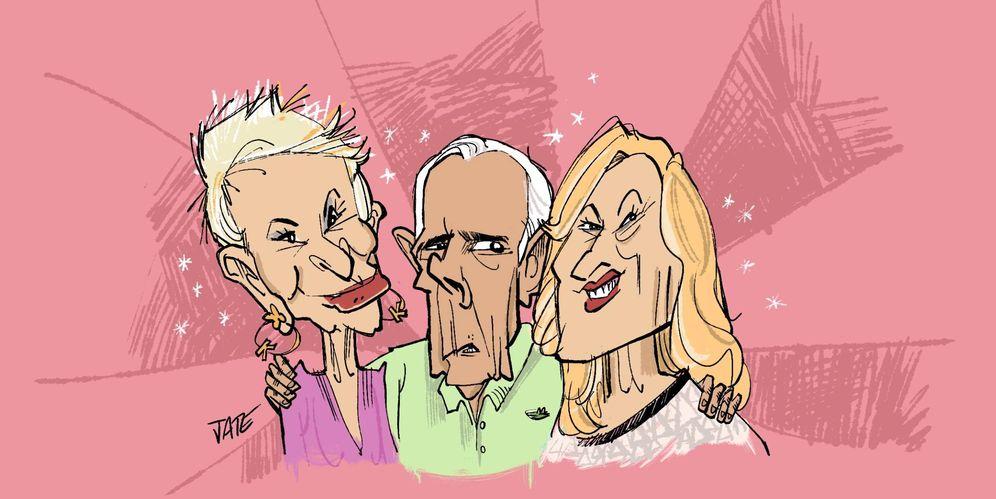Foto: Karmele, Jimmy y Rosa. Viñeta realizada por Jate para Vanitatis.