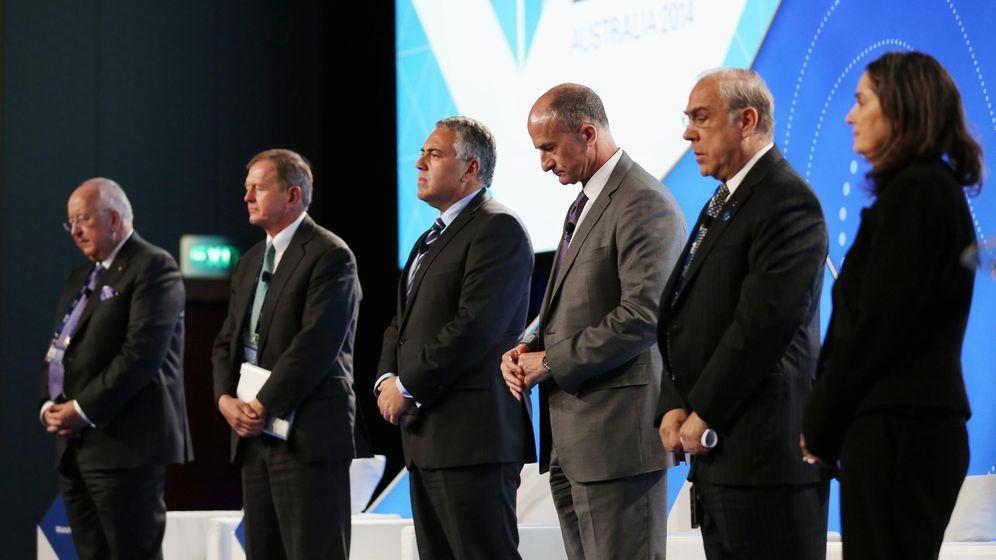 Foto: Los CEO de distintas multinacionales antes de comenzar una conferencia en la reunión del B20, en Sidney. (Reuters)