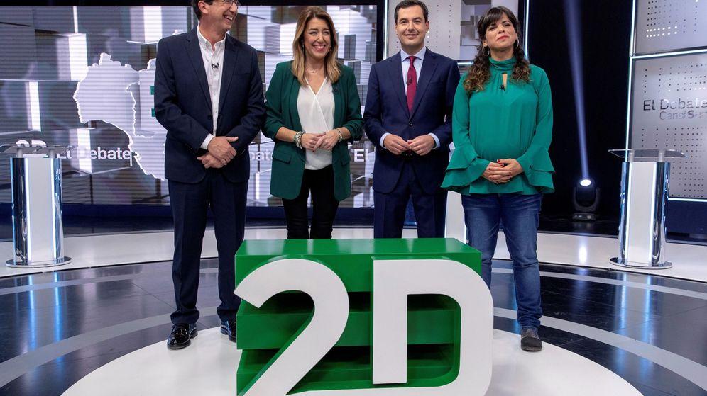 Foto: Los cuatro candidatos a la presidencia de la Junta, el pasado lunes en el debate. (EFE)