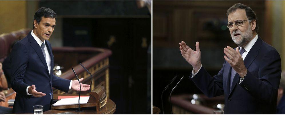 Foto: El secretario general del PSOE, Pedro Sánchez (i), y el presidente del Gobierno en funciones, Mariano Rajoy. (EFE)