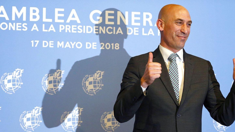 Luis Manuel Rubiales, tras ser elegido presidente de la Federación Española de Fútbol. (EFE)