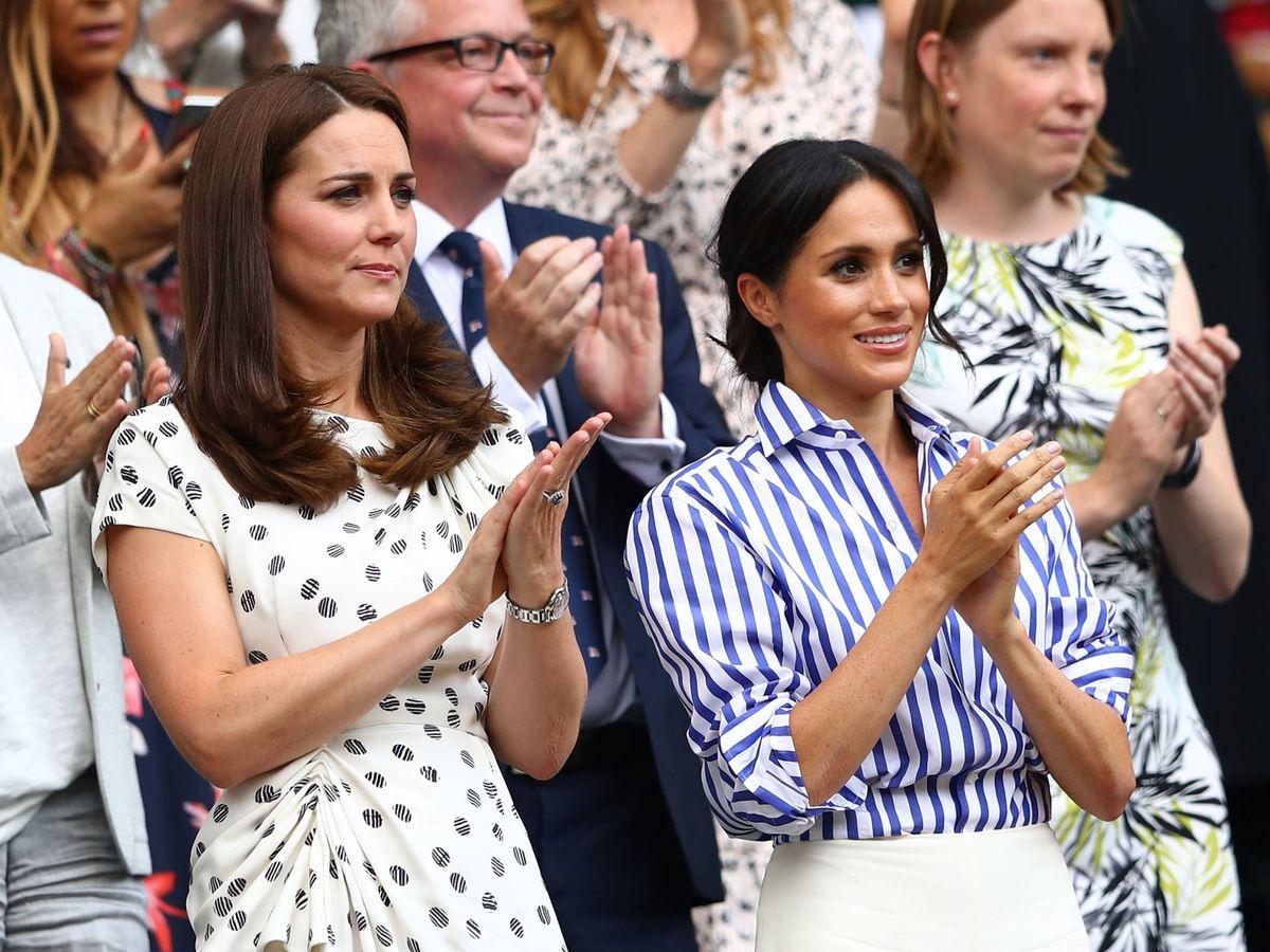 Foto: Kate Middleton y Meghan Markle, en Wimbledon. (Getty)