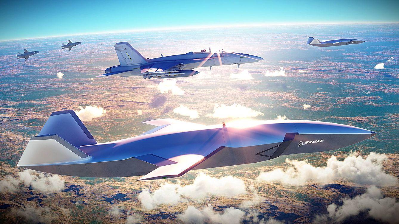 Foto: El futuro drone que prepara Boeing escoltando a un avión de carga. (Imagen cedida)